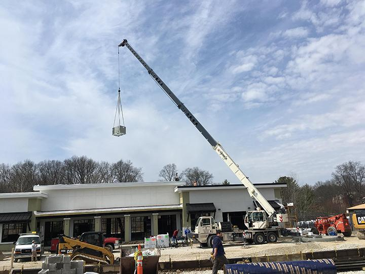 commercial hvac installation crane